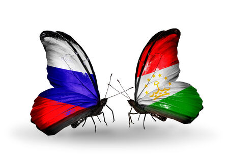 economy of tajikistan: Two butterflies with flags on wings as symbol of relations Russia and Tajikistan