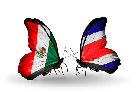 Two butterflies with flags on wings as symbol of relations Mexico and Costa Rica