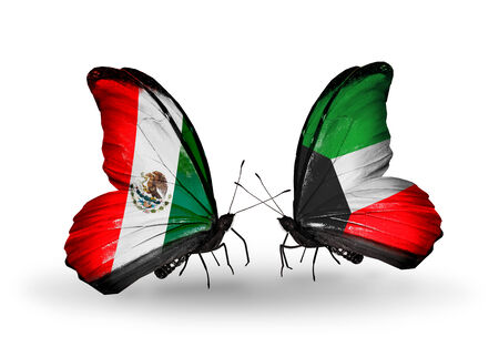 Two butterflies with flags on wings as symbol of relations Mexico and Kuwait photo