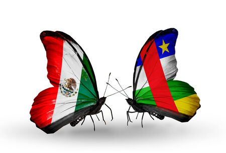 african solidarity: Two butterflies with flags on wings as symbol of relations Mexico and CAR