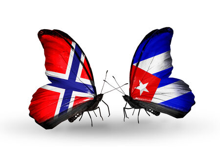 Two butterflies with flags on wings as symbol of relations Norway and Cuba