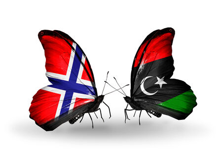 Two butterflies with flags on wings as symbol of relations Norway and Libya photo