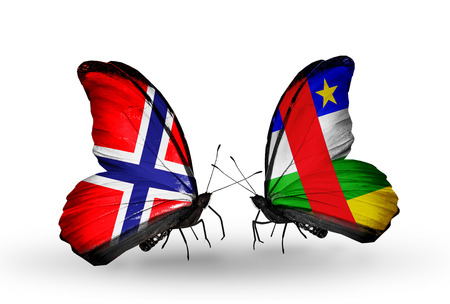 african solidarity: Two butterflies with flags on wings as symbol of relations Norway and CAR