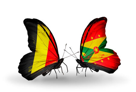 Two butterflies with flags on wings as symbol of relations Belgium and Grenada photo