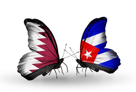 Two butterflies with flags on wings as symbol of relations Qatar and Cuba