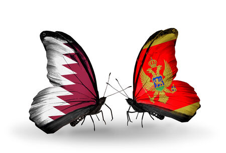 Two butterflies with flags on wings as symbol of relations Qatar and Montenegro photo