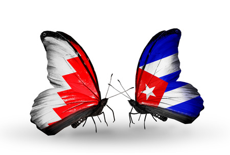 Two butterflies with flags on wings as symbol of relations Bahrain and  Cuba