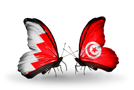 bahrain money: Two butterflies with flags on wings as symbol of relations Bahrain and Tunisia Stock Photo