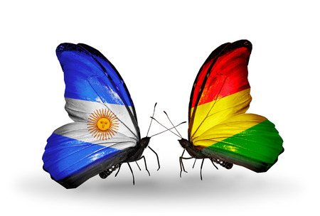 Two butterflies with flags on wings as symbol of relations Argentina and Bolivia photo