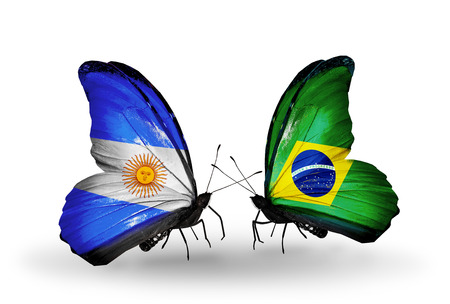 Two butterflies with flags on wings as symbol of relations Argentina and  Brazil photo