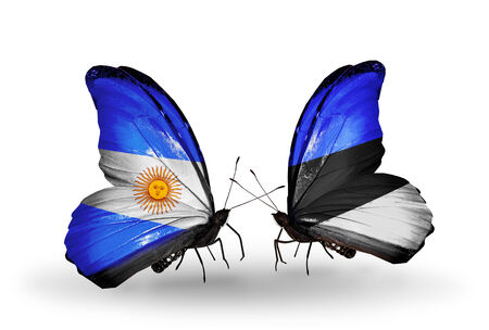 Two butterflies with flags on wings as symbol of relations Argentina and Estonia photo