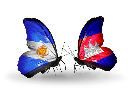 Two butterflies with flags on wings as symbol of relations Argentina and Cambodia photo