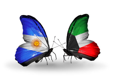 Two butterflies with flags on wings as symbol of relations Argentina and Kuwait photo