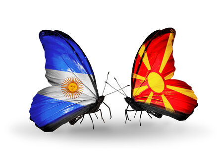 Two butterflies with flags on wings as symbol of relations Argentina and Macedonia