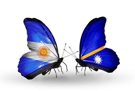 Two butterflies with flags on wings as symbol of relations Argentina and Nauru photo