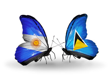 Two butterflies with flags on wings as symbol of relations Argentina and Saint Lucia photo