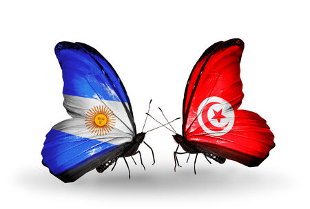 Two butterflies with flags on wings as symbol of relations Argentina and Tunisia photo