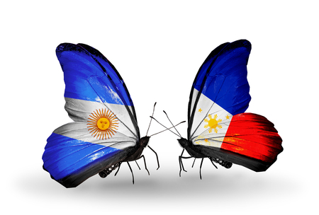 Two butterflies with flags on wings as symbol of relations Argentina and Philippines photo