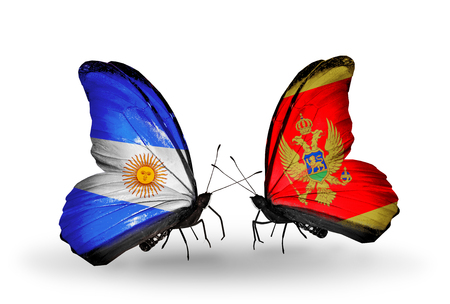 Two butterflies with flags on wings as symbol of relations Argentina and Montenegro photo