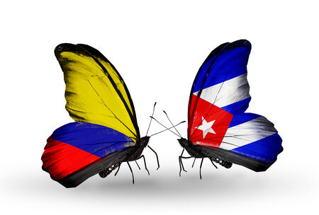 Two butterflies with flags on wings as symbol of relations Columbia and Cuba