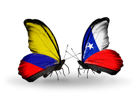 Two Butterflies With Flags On Wings As Symbol Of Relations Columbia
