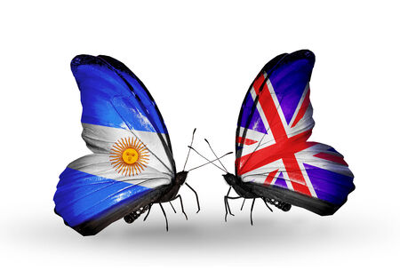 Two butterflies with flags on wings as symbol of relations Argentina and UK photo