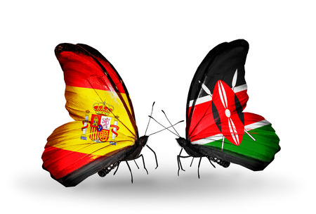 Two butterflies with flags on wings as symbol of relations Spain and  Kenya photo