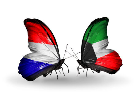 Two butterflies with flags on wings as symbol of relations Holland and Kuwait photo