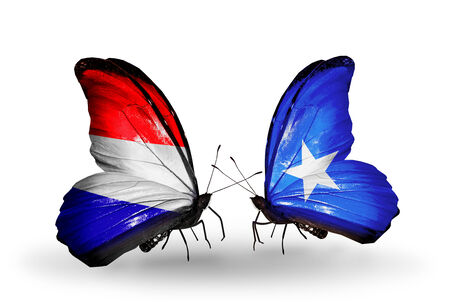 Two butterflies with flags on wings as symbol of relations Holland and Somalia photo