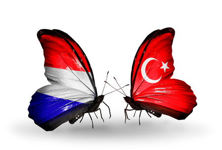 Two butterflies with flags on wings as symbol of relations Holland and Turkey photo