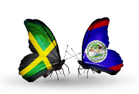 Two butterflies with flags on wings as symbol of relations Jamaica and  Belize photo