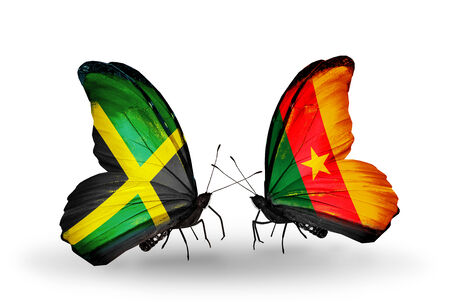 Two butterflies with flags on wings as symbol of relations Jamaica and Cameroon photo