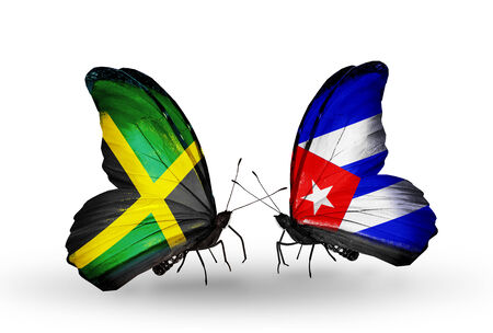 Two butterflies with flags on wings as symbol of relations Jamaica and Cuba Stock Photo
