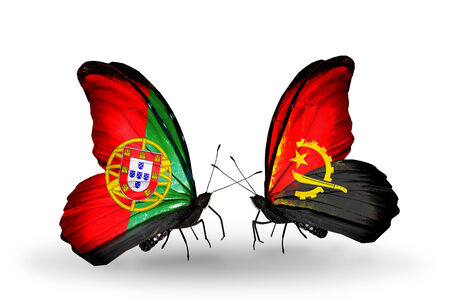 Two butterflies with flags on wings as symbol of relations Portugal and Angola photo
