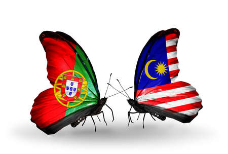 Two butterflies with flags on wings as symbol of relations Portugal and Malaysia photo