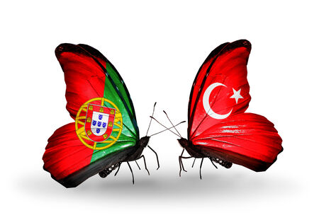 Two butterflies with flags on wings as symbol of relations Portugal and Turkey photo