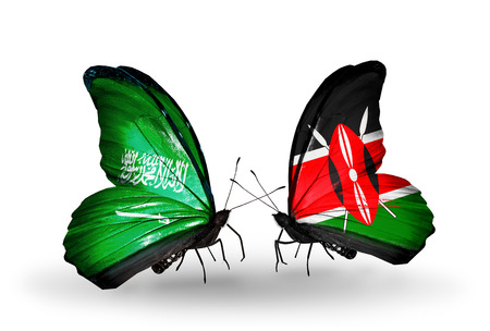 Two butterflies with flags on wings as symbol of relations Saudi Arabia and Kenya photo