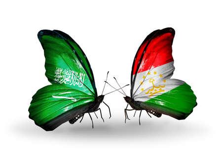 economy of tajikistan: Two butterflies with flags on wings as symbol of relations Saudi Arabia and Tajikistan
