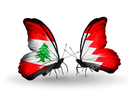 bahrain money: Two butterflies with flags on wings as symbol of relations Lebanon and Bahrain
