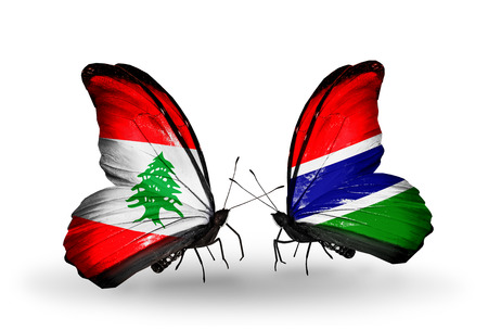 Two butterflies with flags on wings as symbol of relations Lebanon and Gambia photo