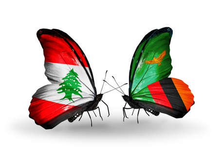 Two butterflies with flags on wings as symbol of relations Lebanon and Zambia photo