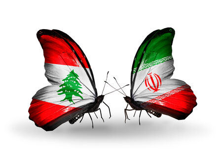 Two butterflies with flags on wings as symbol of relations Lebanon and  Iran photo