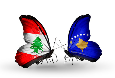 Two butterflies with flags on wings as symbol of relations Lebanon and Kosovo photo