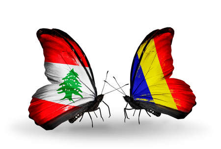 Two butterflies with flags on wings as symbol of relations Lebanon and Chad, Romania