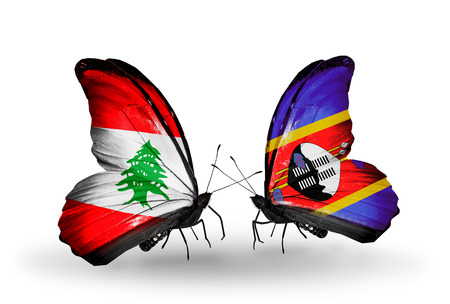 Two butterflies with flags on wings as symbol of relations Lebanon and Swaziland photo