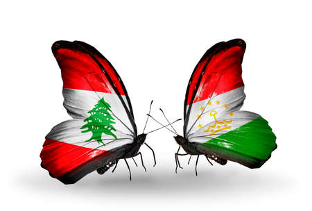 economy of tajikistan: Two butterflies with flags on wings as symbol of relations Lebanon and Tajikistan