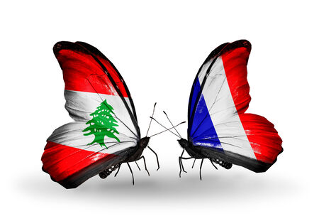 Two butterflies with flags on wings as symbol of relations Lebanon and France photo