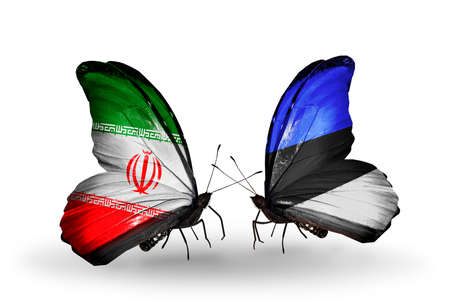 Two butterflies with flags on wings as symbol of relations Iran and Estonia photo