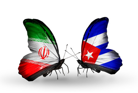 Two butterflies with flags on wings as symbol of relations Iran and Cuba photo