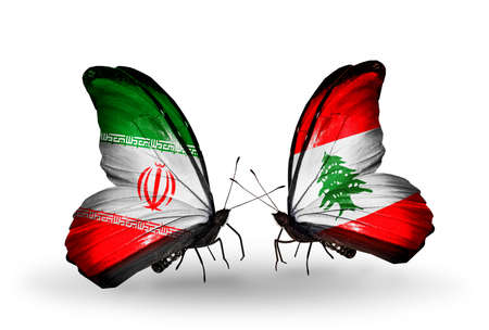 Two butterflies with flags on wings as symbol of relations Iran and Lebanon photo